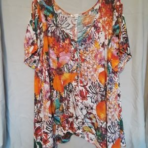 Cheerful cold shoulder top
